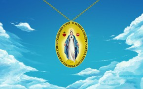 Picture Paris, sky, clouds, Madonna, Europa, Mary, medal, Jesus Chris