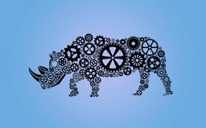 Picture abstraction, techno, Rhino, gear