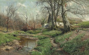 Wallpaper Farmstead by a river, 1904, Peder Mørk Mønsted, Peter Merk Of Menstad, Danish painter, Danish ...