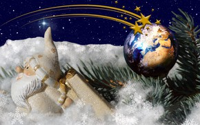 Picture winter, snow, snowflakes, holiday, toys, new year, Christmas, spruce, branch, stars, ball, sparks, tree, Santa ...
