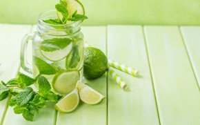 Picture ice, lime, citrus, drink, mint