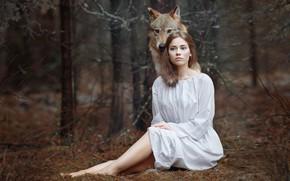 Wallpaper girl, forest, Alena Zvereva, Svetlana Nicotine, wolf