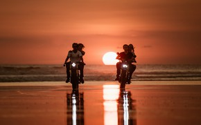 Picture sea, sunset, motorcycles, shore, pair