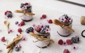 Picture flowers, berries, dessert, spoon