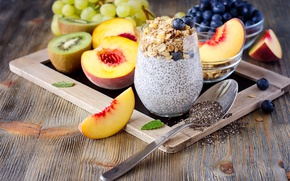 Picture food, Breakfast, kiwi, blueberries, grapes, fruit, nectarine, yogurt, cereal