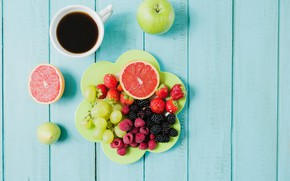 Picture berries, coffee, Breakfast, grapes, fruit
