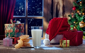 Picture New Year, Christmas, christmas, balls, merry christmas, gift, milk, cookies, decoration, xmas