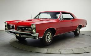 Picture retro, coupe, Red, Pontiac, GTO, 1966