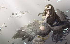 Wallpaper horns, girl, anime, overlord, albedo, art, wings, feathers