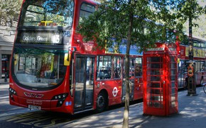 Wallpaper bus, street, photo, red, architecture, architecture, city, the city, photography, England, phone booth, unitedkingdom, red ...