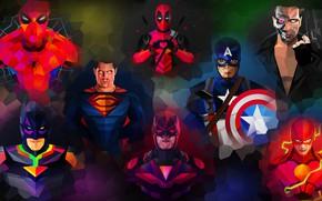 Wallpaper purple, orange, blue, yellow, red, green, weapons, grey, lilac, power, pink, batman, spider-man, spider-man, green, ...
