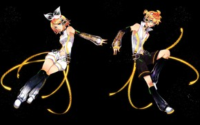 Picture night, anime, art, two, Vocaloid, Vocaloid, characters, Rin, Len