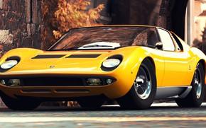Picture Auto, Yellow, Lamborghini, Retro, Machine, 1969, Car, Supercar, Miura, Rendering, Lamborghini Miura, Italian, P400, P400 …