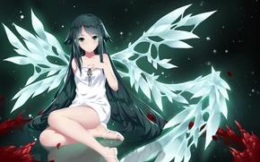 Picture girl, smile, wings, anime, art, saya no uta, saya, song SAI, cangkong
