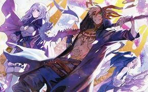 Picture girl, sword, game, armor, weapon, big, anime, man, ken, tatoo, blade, japanese, oppai, powerful, strong, …