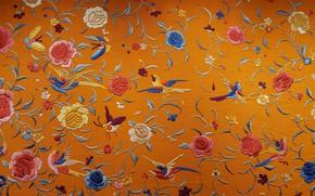 Wallpaper Chinese silk, silk, embroidery, fabric, texture, birds, flowers