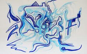 Picture blue, oil, Figure, markers, gouache, Watercolor, acrylic, dark blue, gel, pastel., Lena Horn, winter style