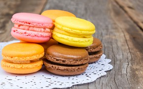 Picture colorful, dessert, wood, cakes, sweet, sweet, dessert, macaroon, french, macaron, macaroon