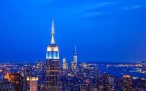 Picture night, lights, New York, panorama, USA, Manhattan