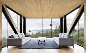 Wallpaper living room, interior, Blanche Chalet, Villa