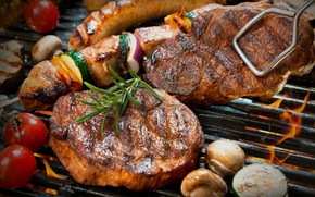 Picture fire, mushrooms, meat, vegetables, steak, grill