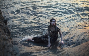 Picture girl, dirt, surf, in the water, Aleah Michele, The space between