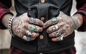 Wallpaper tattoo, tattoo, button, cell, hands, chain, canine, bracelet, a bracelet, skull, arms, chain, vest, shirt, ...