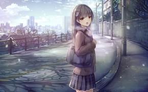 Picture winter, art, girl