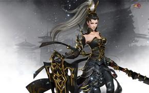 Picture girl, the game, warrior, art, Twilight mountain fly bird °, Gian Vang, Tibetan sword