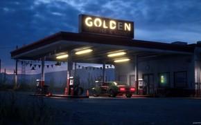 Picture night, station, lighting, Desert Gas Station, Golden Gasoline