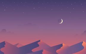 Picture stars, night, the dunes, the moon, desert