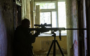 Picture house, soldiers, sniper rifle
