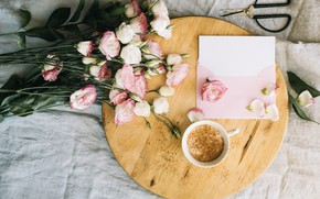 Picture flowers, coffee, bouquet