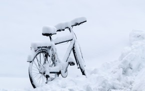 Wallpaper winter, snow, bike