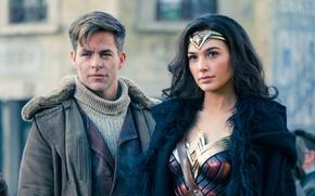 Wallpaper cinema, Wonder Woman, armor, man, movie, brunette, hero, film, powerful, strong, yuusha, Gal Gadot, Chris ...