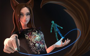 Picture Vanessa, ears, girl, art, Antonio Mello, 3D pen, artist