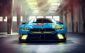 Picture racing car, front view, 2018, GTE, BMW M8