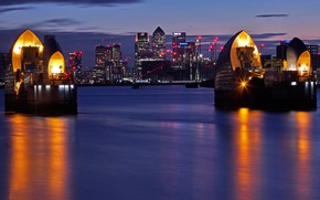 Picture night, lights, river, England, London, home, Thames
