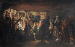 Picture oil, Canvas, 1875, Vasily MAXIMOV, The arrival of the sorcerer at a peasant wedding