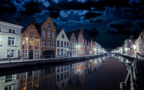 Wallpaper the city, night, Bruges by night