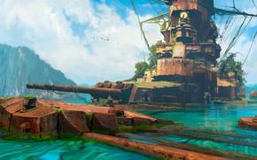 Wallpaper gorw, birds, water, ship, Abandoned ship