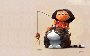 Picture cat, mood, mouse, art, girl, children's, Goro Fujita
