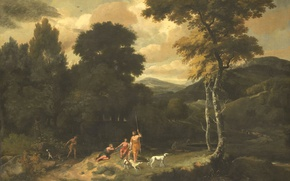 Picture nature, Landscape with Hunters, picture, Jacob Esselens