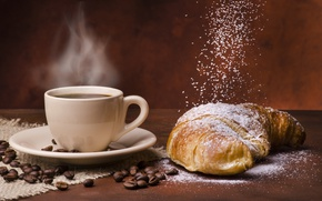 Picture coffee, Cup, coffee beans, powdered sugar, croissants