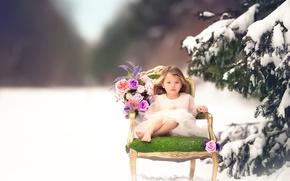 Picture snow, flowers, spruce, girl, Meg Bitton