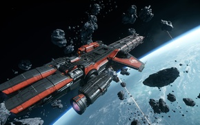 Wallpaper flight, Caterpillar, starship, Star Citizen