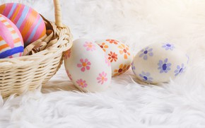 Picture basket, eggs, Easter, Holiday