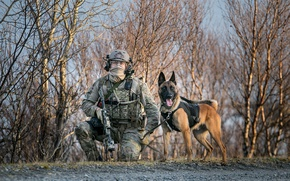 Wallpaper soldiers, dog, army, weapons