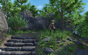 Picture stones, vegetation, stage, woman, Stairs and the Rocks