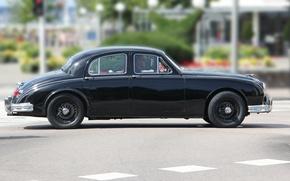 Picture auto, retro, black, Jaguar, Jaguar, black, chrome, in motion, rarity, beautiful, retro, chrom, scumbria